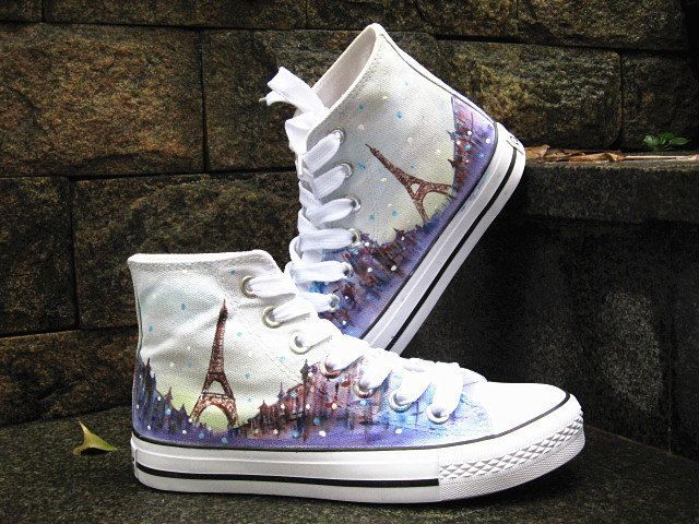 Eiffel tower shoes  Converse Sneakers Hand-Painted Converse Shoes high top Canvas shoes by Kingmaxpaints on Etsy