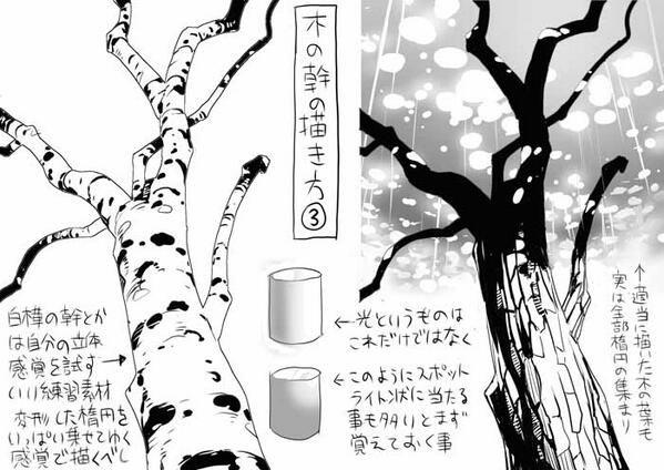 """篠房六郎さんのツイート: """"みんな簡単に描けそうで実は描けていない、木の幹の描き方について、その3 http://t.co/V1js7gsZLK"""""""