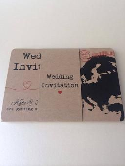 Travel themed wedding invitation with map. Perfect for destination weddings abroad or with a travel theme.