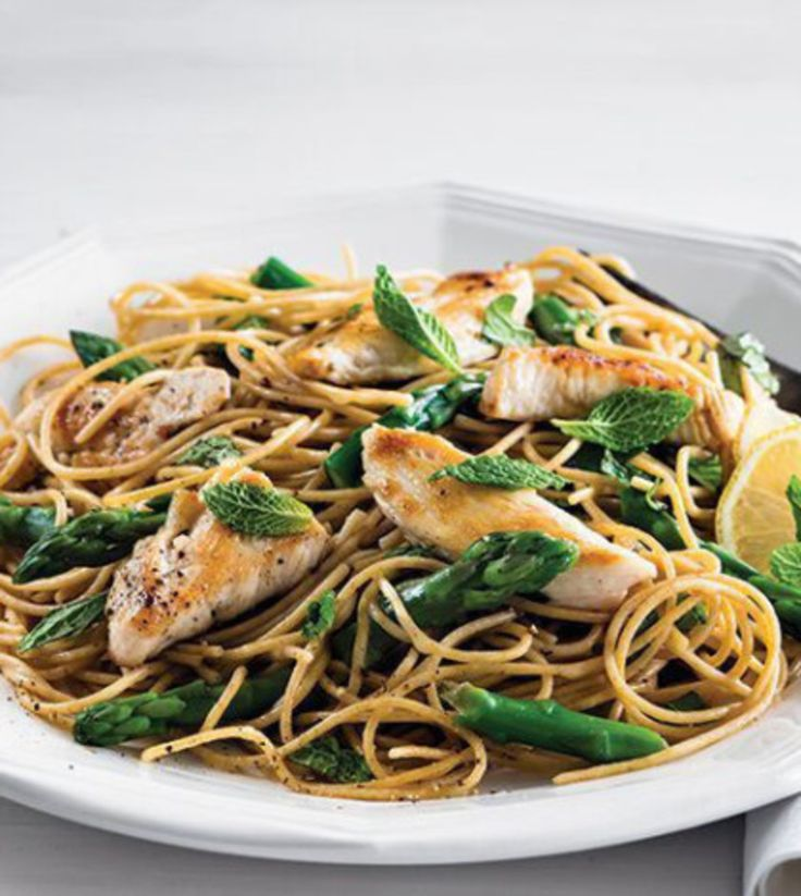Lemony Angel-Hair Pasta with Chicken & Asparagus image