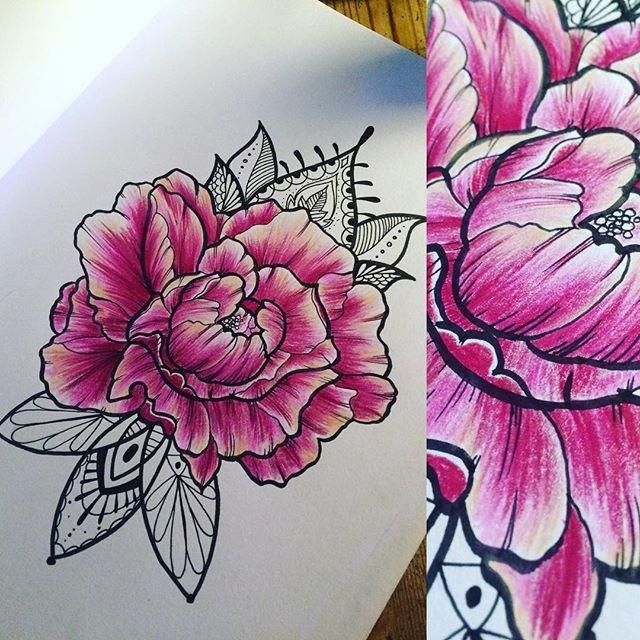 #peonies #drawing #tattooflash #flower #flowertattoo #Art #kunst #bunt…