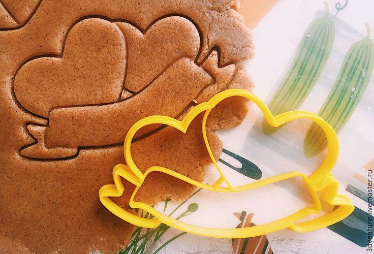 Купить Форма для пряников и печенья Два сердца - разноцветный, формочка для печенья, форма для печенья
