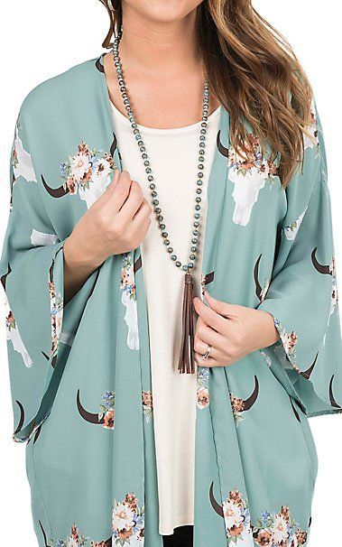 Peach Love Women's Sage Skull Print Long Bell Sleeve Kimono | Cavender's