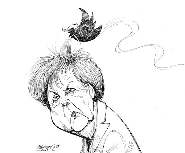 Petar Pismestrovic - Kleine Zeitung, Austria - Bird attack - English - Angela Merkel, Donald Trump, Germany, USA, EU, Europe, Twitter, Climate