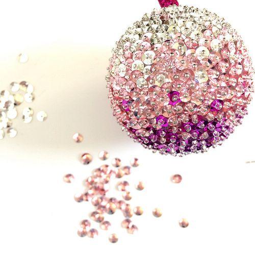 diy ombre sequin ornaments