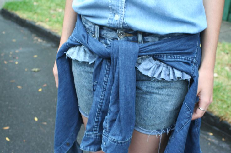 Frayed Language customised denim short. recycled and restructured pre loved denim