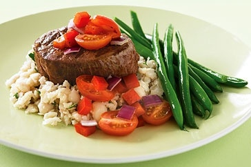 Really healthy low GI - Succulent tender steak is a great choice with mashed cannelini beans and steamed green beans.