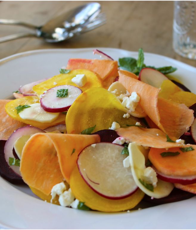 Shaved Rainbow Sweet Potato Salad Recipe- Don't let their sweet nature fool you! Sweet potatoes' nutritiousness is off the charts, making sweet potatoes a wholesome option for children, adults, diabetics and anyone interested in improving their health.