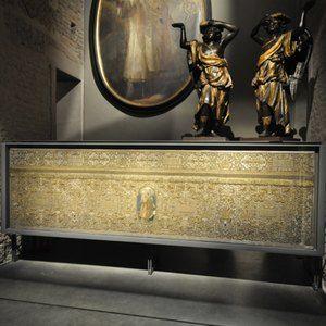 Sistemi espositivi Museofab per allestimenti museali. Espositore per paliotto, Museo del Duomo di Milano