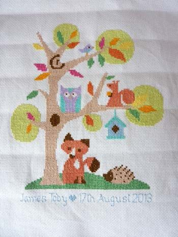 cross stitch baby sampler - cute woodland theme, kit from The Stitching Shed