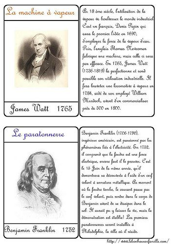 Le bonheur en famille: Cartes inventions, James Watt et Benjamin Franklin...