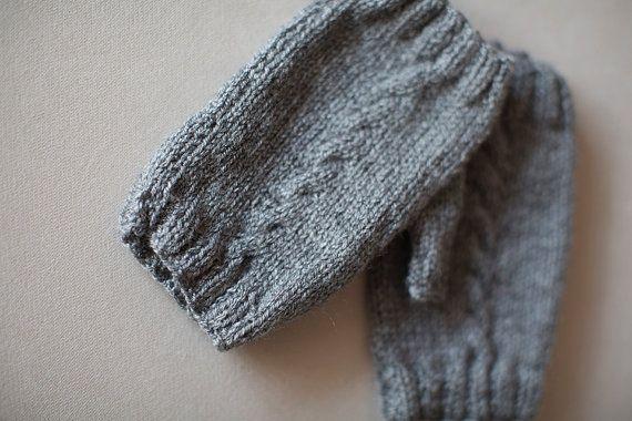 Knit Gloves, Grey Gloves, Fingerless Gloves