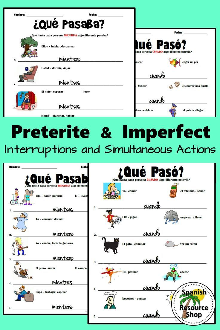 More Practice For The Spanish Preterite And Imperfect Tenses These Practice Worksheets Include Visual Preterite Spanish Spanish Lesson Plans Learning Spanish [ 1104 x 736 Pixel ]