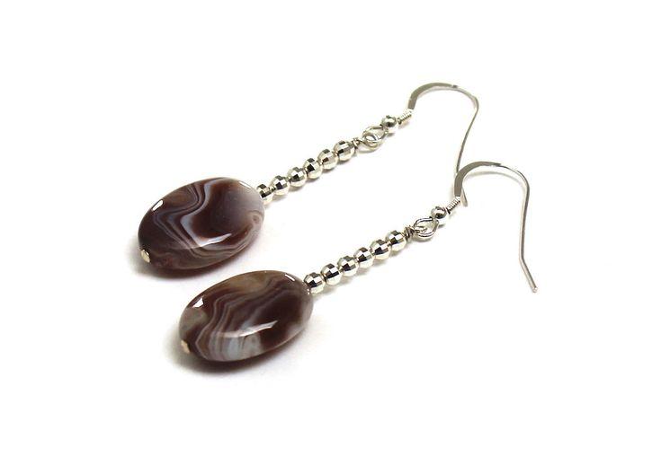 Botswana Eye Agates Sterling Silver Dangle Earrings, #etsy #weddings #jewelry #silver #brown #boho #women #yes #stone #chakra #earrings #evileye #protection #fertility #gemstones #gifts #giftidea