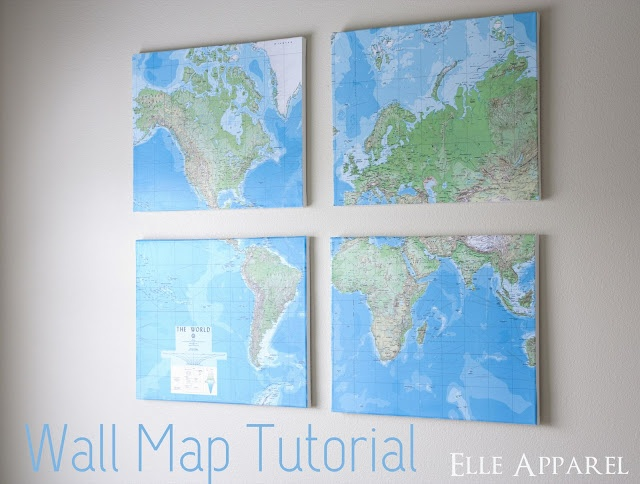world map on canvas: Wall Art, Antiques Maps, Crafts Ideas, Wall Maps, Elle Apparel, Vintage Maps, Boys Rooms, The Offices, Maps Tutorials