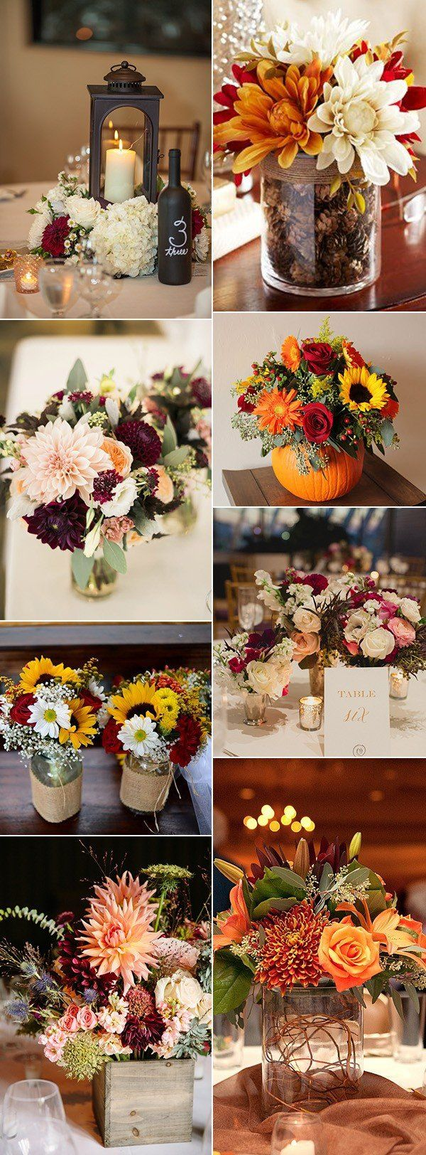 country rustic fall wedding centerpiece ideas