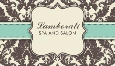 Business Card Template Art Deco Damask Floral Elegant Modern Professional Brown Beige and Green