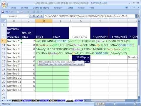 Excel Facil Truco #50: Busqueda Inversa de Doble Entrada Parte 2 - YouTube libro de trabajo: http://www.excelfacil123.com.ar/  Mirar la Parte 1 Primero. Funciones, SI, INDICE, K.ESIMO.MENOR, TEXTO, FILA, FILAS, en una formula Matriz Busqueda Inversa de Doble Entrada lista de nombres de pacientes con citas programadas  Twitter: http://twitter.com/ExcelFacil123 Facebook: https://www.facebook.com/pages/Excel-F%C3%A1cil/370567826406025 Excelisfun…