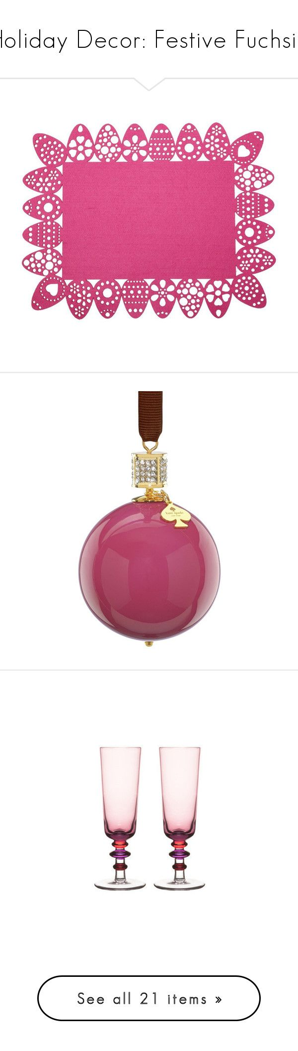 """""""Holiday Decor: Festive Fuchsia"""" by polyvore-editorial ❤ liked on Polyvore featuring festivefuchsia, home, kitchen & dining, table linens, frames, backgrounds, fillers, kitchen, borders and picture frame"""
