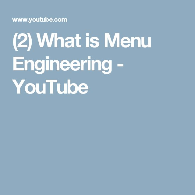 (2) What is Menu Engineering - YouTube
