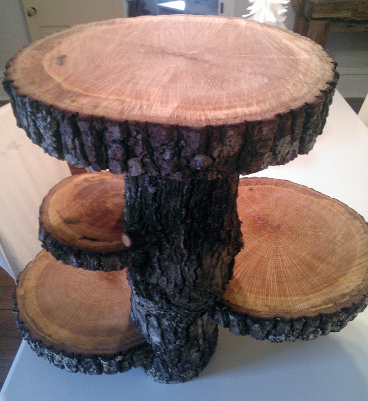 Check out this awesome cake stand on Etsy! SOLD-Rustic 4 Tier Wedding Serving Log Platter. $125.00, via Etsy.