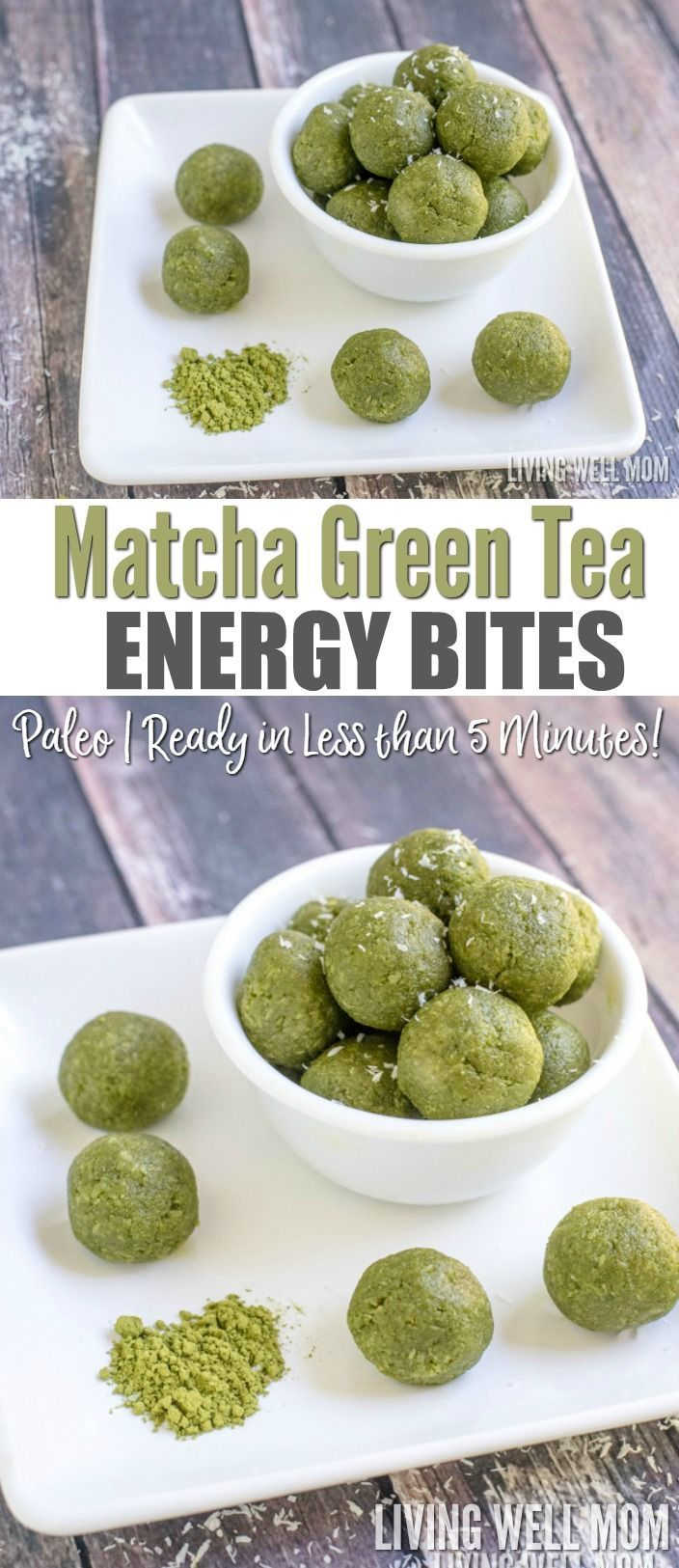 A delicious blend of green tea and coconut, these Matcha Green Tea Energy Bites are a perfect way to perk you up anytime of the day! Plus, this recipe requires less than 5 minutes to make! It's also refined sugar-free, dairy-free, gluten-free and Paleo friendly.