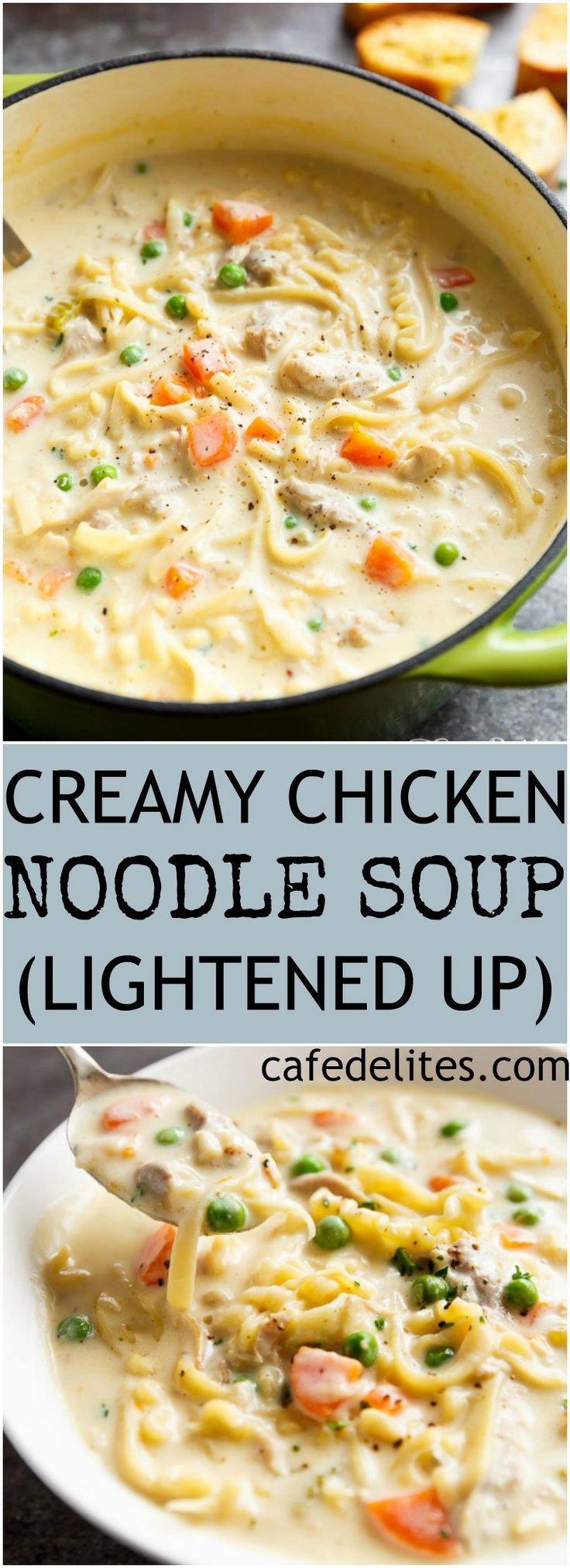 Super creamy Chicken Noodle Soup beats any soup any day. The perfect comfort food in a bowl, lightened up with half of the calories AND no heavy cream! | https://cafedelites.com