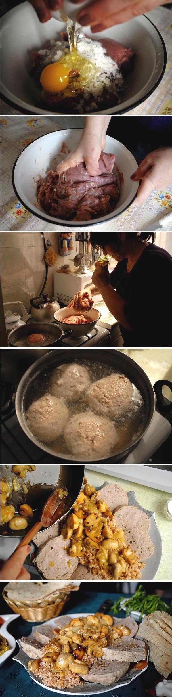Armenian Meatloaf with Mushrooms over Rice Pilaf | GAVAR-STYLE KUFTA, photo: Nazik Armenakyan for ArmeniaNow, #recipe #armenianfood