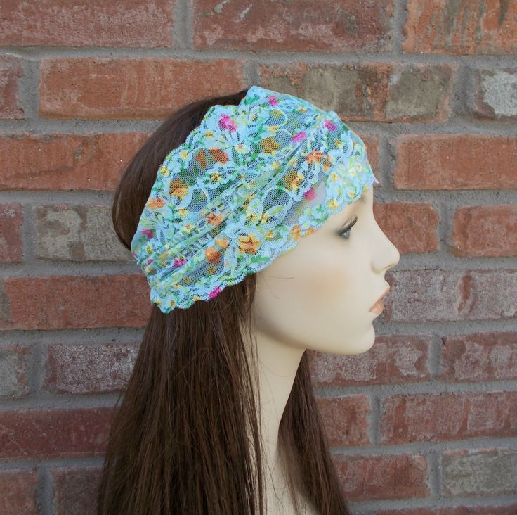 Boho Head Wrap Bohemian Hair Wrap Blue Floral Stretch Lace Headband for Women & Teens Forever Andrea Bohemian Hair Accessories Headwrap by foreverandrea on Etsy