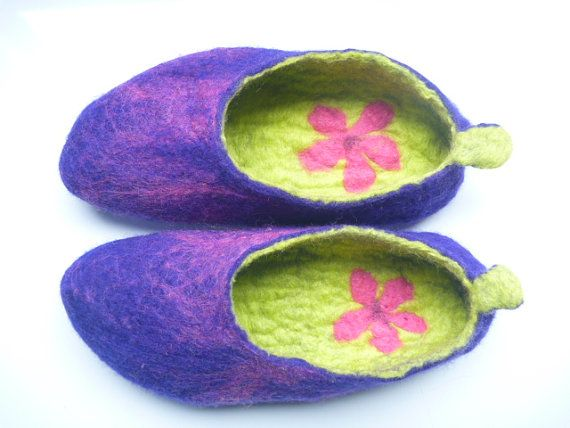 Hand Felted Slippers  Australian Merino wool   by ChrysArtGlass