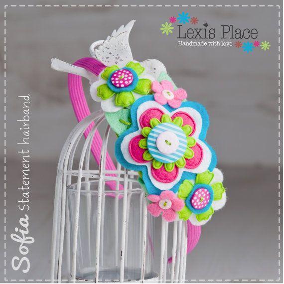 Sofia, Flower hairband, Girls hair accessory, Handmade, Felt flower, Flower alice band, Bridesmaid, Flower girl