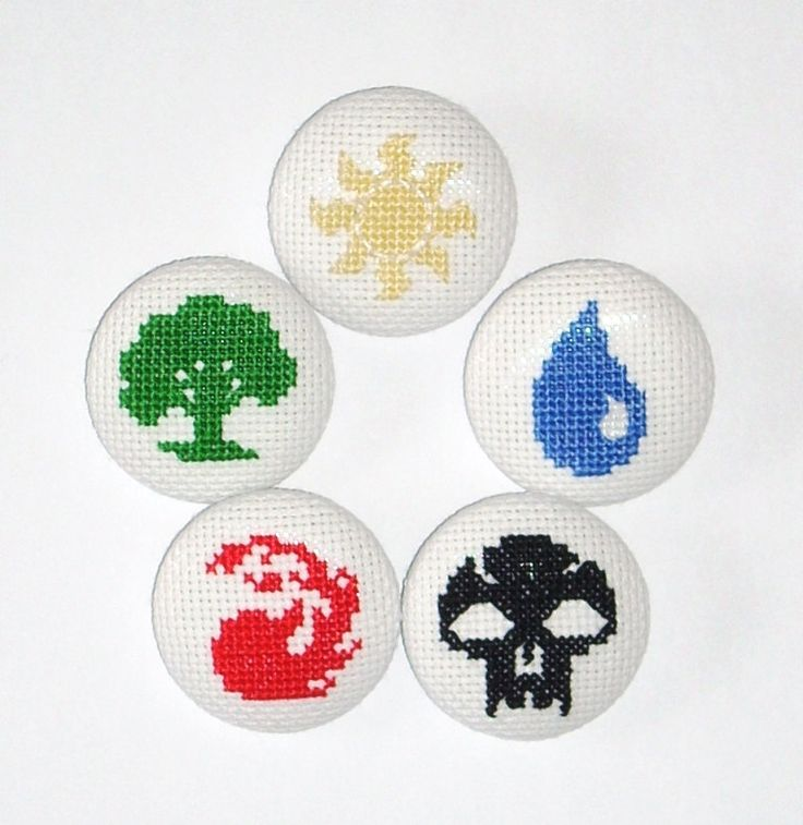 MtG Mana Cross Stitched Buttons - Set of 5. $20.00, via Etsy.