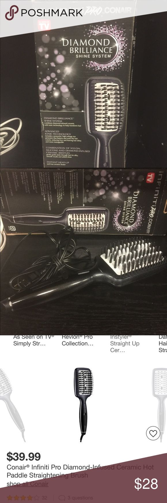 NEW conair diamond brilliance straightening brush Item is in new unused condition. We own a liquidation company & we do check for quality & condition before listing. The box may show signs of damage due to storage & shipping however item was not damaged.  • Nylon, silicone & ceramic bristles • 400 ºF high heat  • 3 heat settings • 30 sec heat up • Swivel cord The Infiniti Pro by Conair Diamond-Infused Ceramic Hot Paddle Straightening Brush delivers shiny, straight, smooth results to all hair…