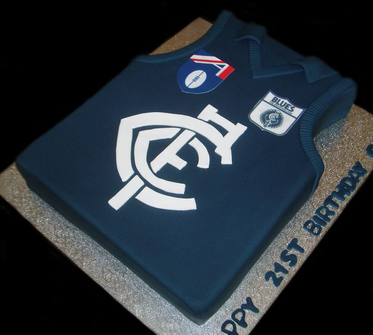 Vintage Carlton FC Jersey Cake - by Nada's Cakes Canberra