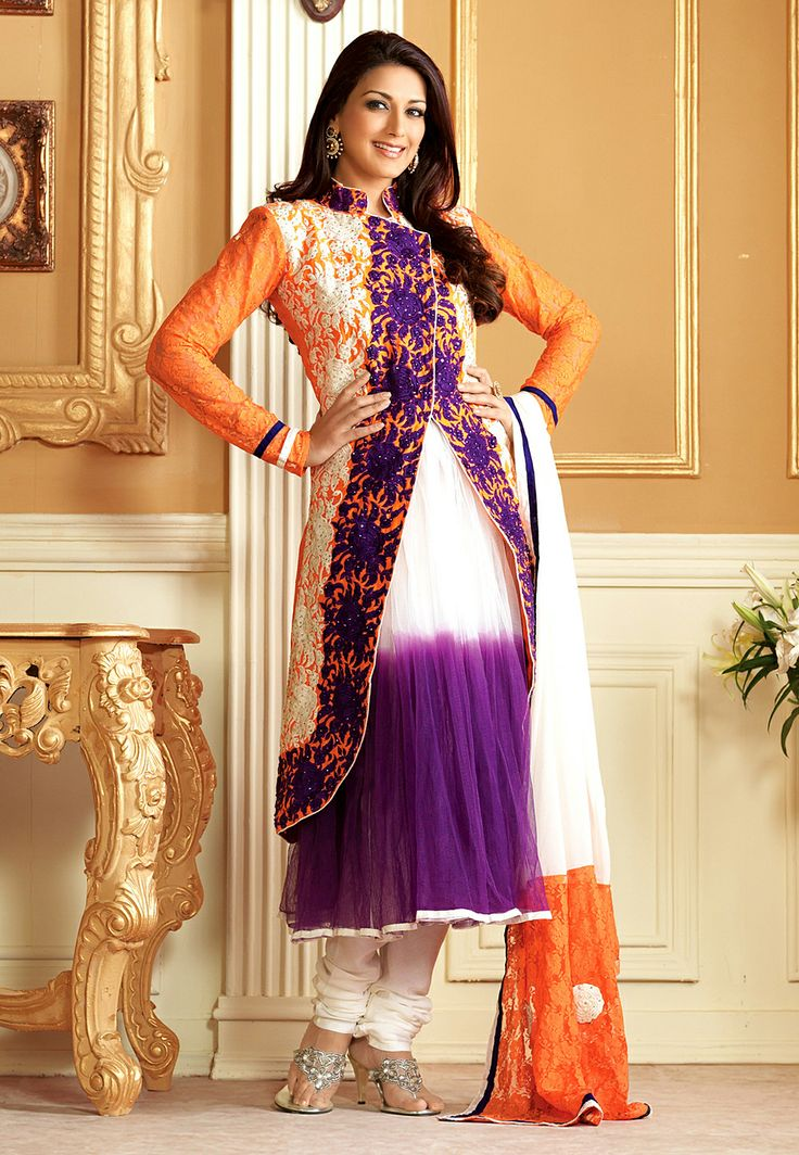 Orange, Purple and Off White Net Anarkali Churidar Kameez @ $96.41