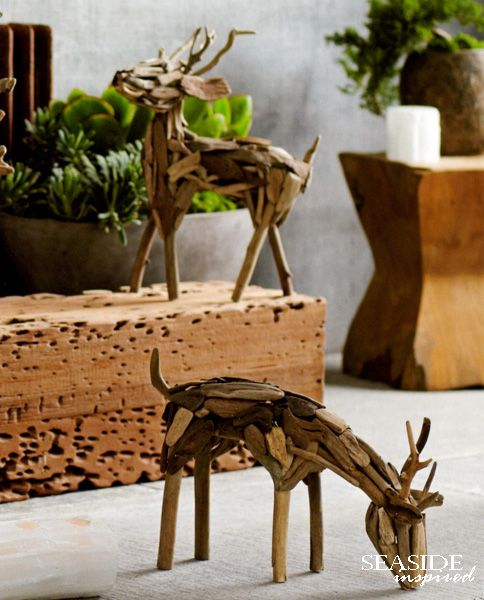 """Driftwood reindeer. Carefully selected bits of salavaged driftwood are artfully arranged to form our standing or grazing reindeer. Standing measures 15"""" H; Grazing 17"""" L"""