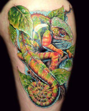 Alex de Pase brings Beauty to Skin with Artistic, Photo-realistic Tattoos « Tattoo Artists « Ratta Tattoo- chameleon, colorful, awesome