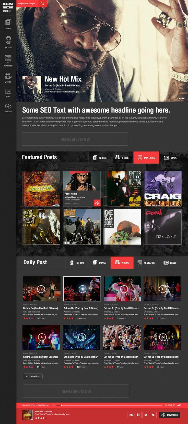 Hip Hop Portal by 3magine #webdesign #music #hiphop