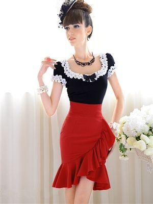 Ruffle Pencil Skirt Price: $29.95 Qualifies for free shipping #skirt #vintage #retro