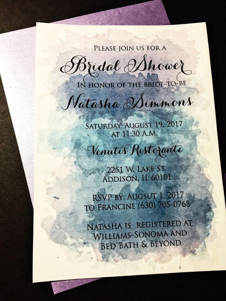 bed bath and beyond wedding invitation kits%0A Watercolor Bridal Shower Invitations  Bridal Shower Invites  NATASHA  VERSION PURPLE Set of