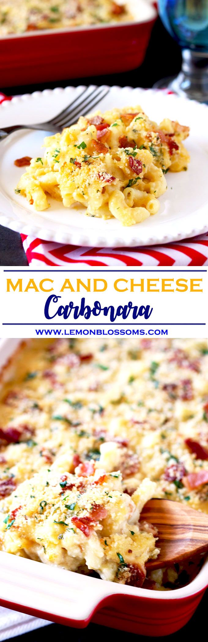 Creamy, cheesy, bacon-y and scrumptious this easy to make Mac and Cheese Carbonara is an exciting alternative to the delicious classic Mac and Cheese we all love! via @https://www.pinterest.com/lmnblossoms/