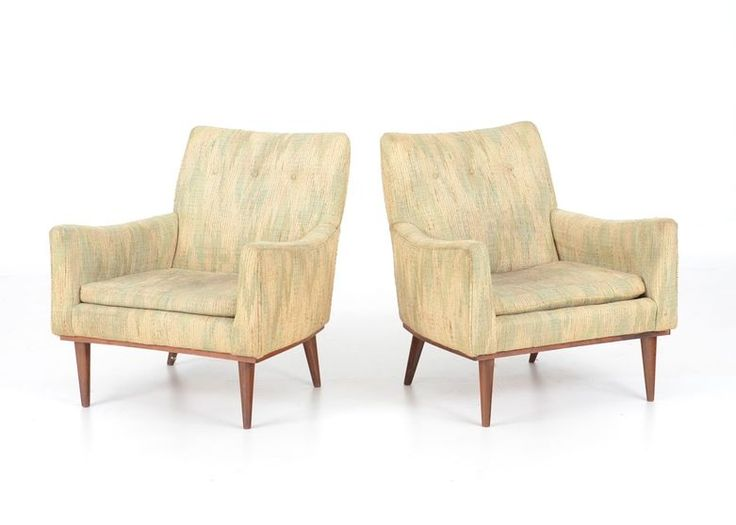 Trendy Pair Of Mid Century Modern Chairs With Mid Century Chair Cushions.