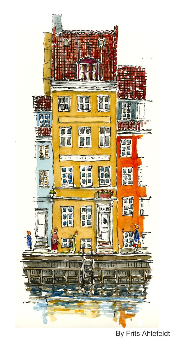 Watercolor, Copenhagen, Denmark #HikingArtist