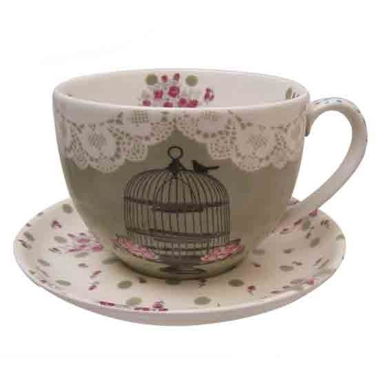 adorable birdcage teacup & saucer set