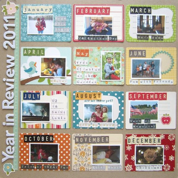 #papercrafting #scrapbook #layouts: Year in review. Nice closing page. Must do this year.