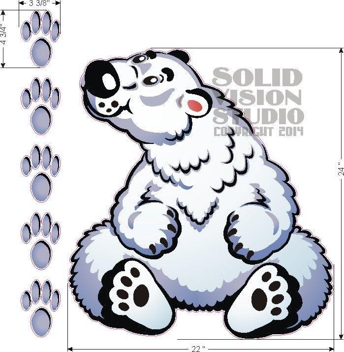 "24"" Polar Bear Ice Cream Concession Truck Shaved Italian Snow Cone Sign Decal #SolidVisionStudio"