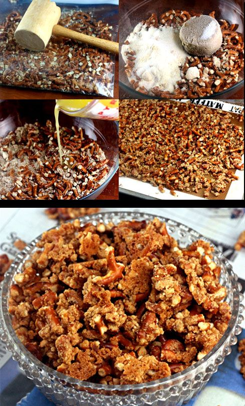 Awesome Superbowl Snack! Malted Pretzel Crunch. People go so nuts for it that I have to make 5 or more pans on football Sundays! Try it drizzled with chocolate, too!