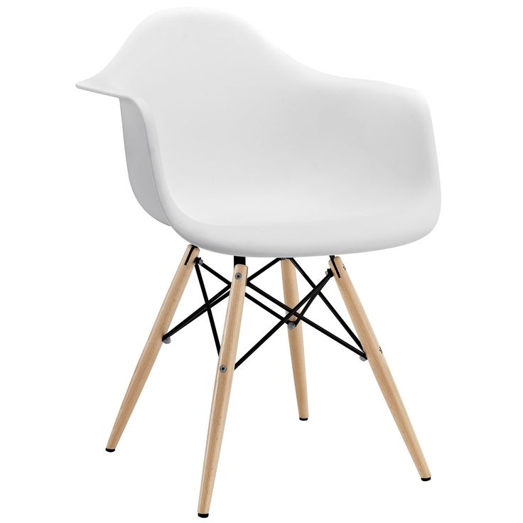 Unique Midcentury Modern Style Molded Plastic Dowel Leg Dining Armchair in White