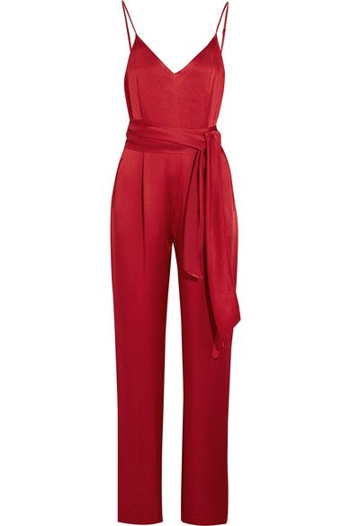 One of the reasons Diane von Furstenberg hand-picked Jonathan Saunders to be her brand's Creative Director is due to his fearless use of color. Part of the British designer's debut Spring '17 collection, this jumpsuit is cut from lustrous red satin. It's lightly pleated at the front and has a coordinating tie to define your waist.