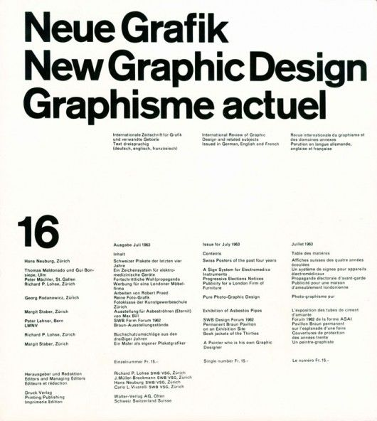 Neue Grafik Swiss International Style Cover